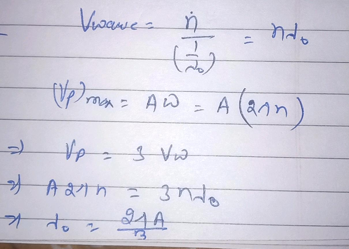 1 A Transverse Wave Is Described By The Equation Y A Sin 2 Pi Left N T X Lambda 0 Right The Maximum Particle Velocity Is Equal To 3 Times The Wave Velocity If Begin Array Ll Text