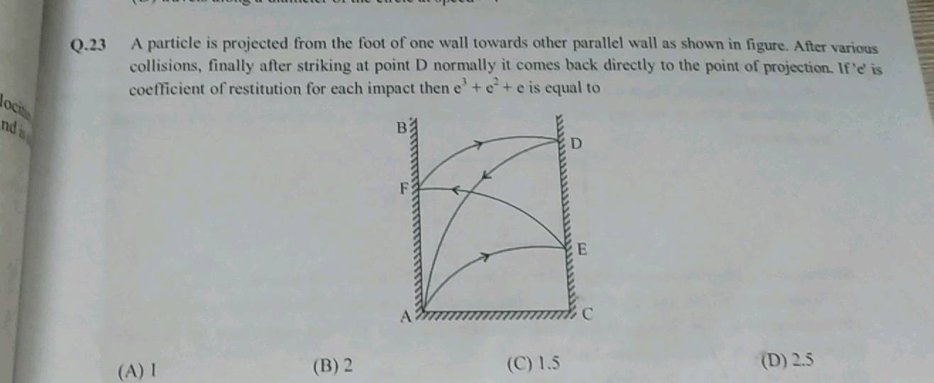 0 23 A Particle Is Projected From The Foot Of One Wall Towards Other Parallel Wall As