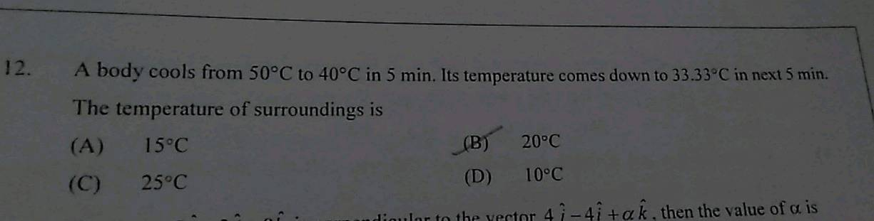 12 A Body Cools From 50 C To 40 C In 5 Min Its