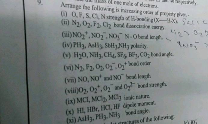 U Ule Mass Of One Mole Of Electrons Jh 40 Respectively Arrange The Following Is Increasing