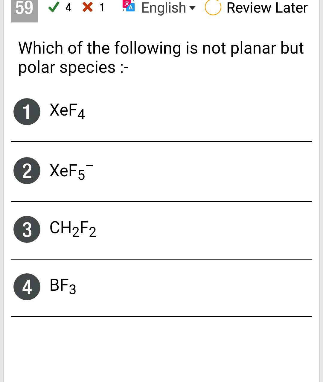 59 V 4 X 1 English O Review Later Which Of The Following Is Not Planar