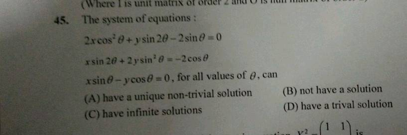 2 The System Of Equations 2 X Cos 2 Theta Y