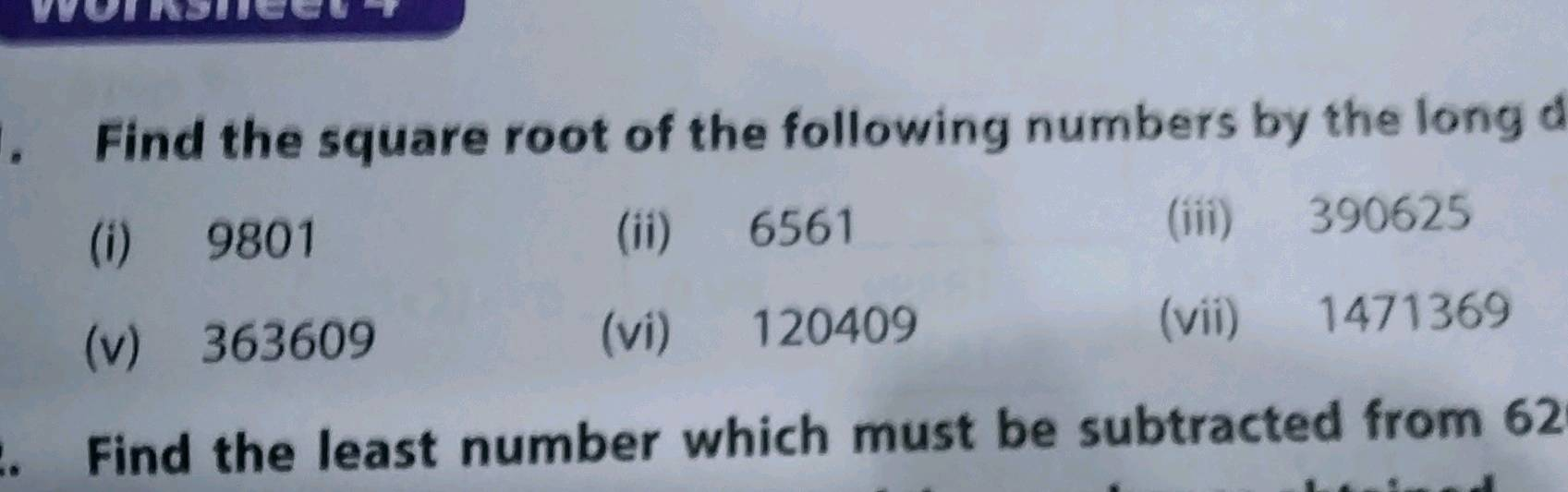 Square Root Of 225 By Repeated Subtraction Method : Rational numbers and irrational numbers.